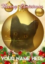 Black Cat Bauble Merry Christmas Personalised Greeting Card Xmas CodeB145 - $3.88