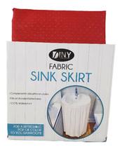 Fabric Sink Skirt Bathroom Decor  100% Waterproof Self Stick Red - $10.84
