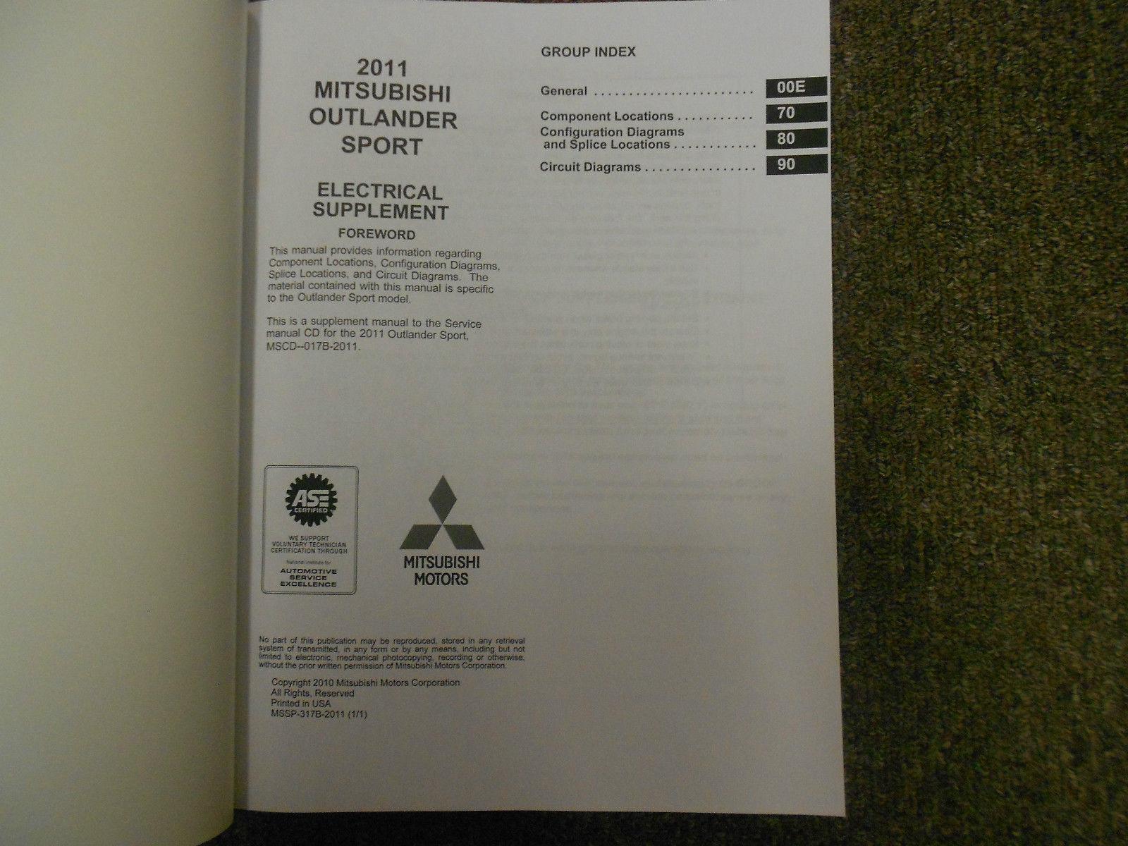 2011 MITSUBISHI Outlander Sport Body Electrical Service Repair Shop Manual SET