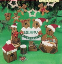 Plastic Canvas Xmas Card Holder Coasters Swag Tissue Cover Bear Claus Pattern - $11.99
