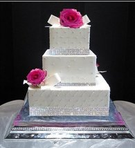 Crystal Cake Ribbon Rhinestone Banding Wedding Cake, 2 Yards, 3 Rows - $36.86