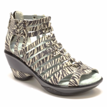 Women's Leather Wedge Sandal Jambu Sugar Zebra Print - $105.00