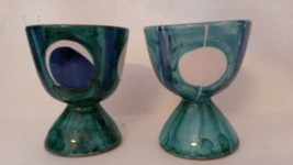 Vintage Terracotta Egg Cups Pair Italy Turquoise Blue White Set Of 2 - $22.13