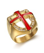 HIP Hop Bling Ice Out Knights Templar Armor Crusader Cross Rings Titaniu... - $17.85