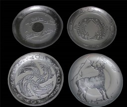 "Handpainted Turkish FISH or DEER/ELK Silver Foil Look Glass 12"" Plate NEW U-Pick - $21.24"