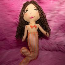 Hand Sewn Fabric Mermaid Doll, Brown Hair, Peach Skin Doll with Orange S... - $65.00