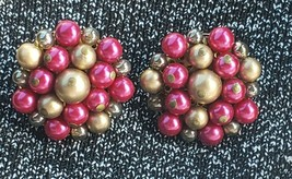 Vintage Pink and Gold Beaded Clip On Earrings  Japan - $9.87