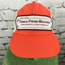 Five Cities Times Press Recorder Orange Trucker Hat SnapBack Mesh Vintage - $17.82