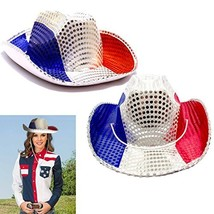 American Cowboy Hats 2 Pack - Red White and Blue Patriotic Cowboy Hat - ... - £15.15 GBP