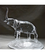 """Lead Crystal Elephant w/Trunk Raised on Frosted Base 5 5/8"""" Tall - $18.99"""