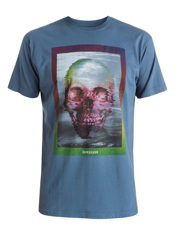 Large Quiksilver Men's Tee Shirt Surfing Beach Casual Skully Acid Blue T-Shirt
