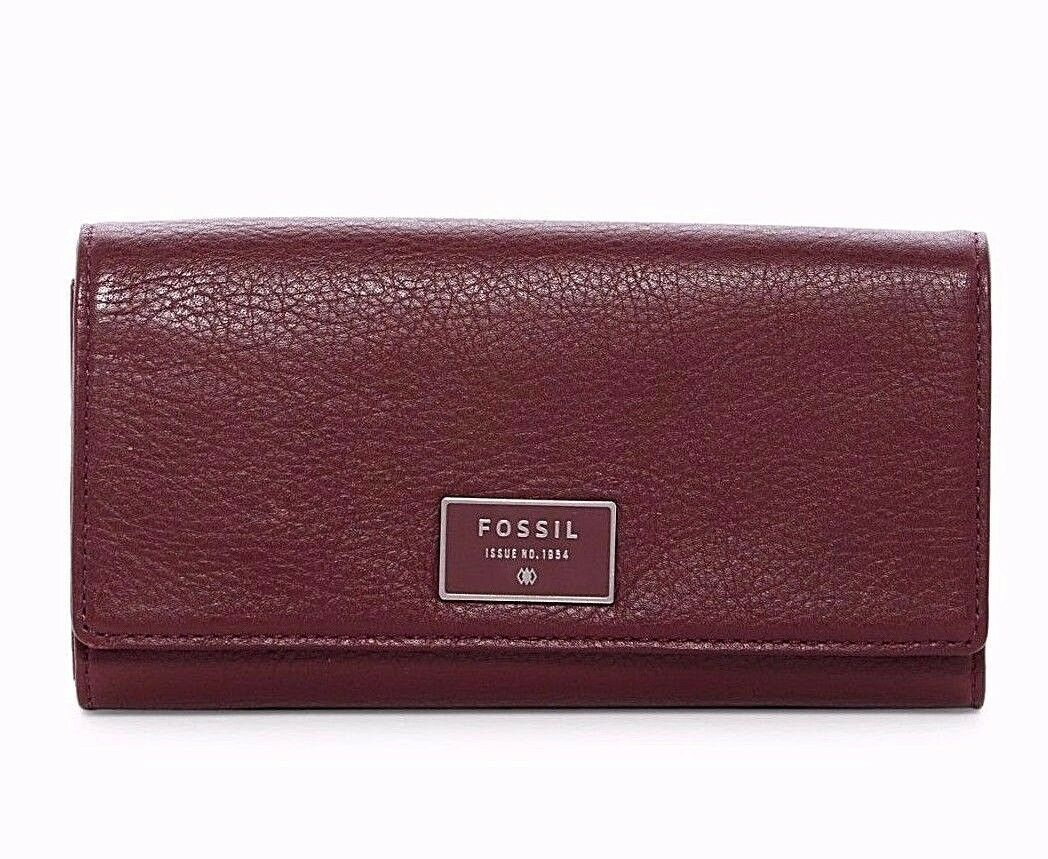 New Fossil Dawson Women Flap Leather Clutch Variety Color