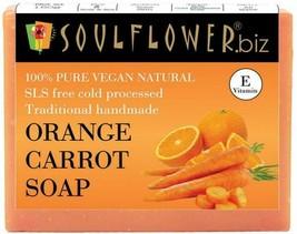 Soulflower Orange & Carrot Handmade Soap 150g vitamin a, beta-carotene N... - $11.80