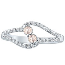 Ring Morganite & Natural Diamond Round Engagement Twist 10k W Gold 1.02 ct - £373.07 GBP