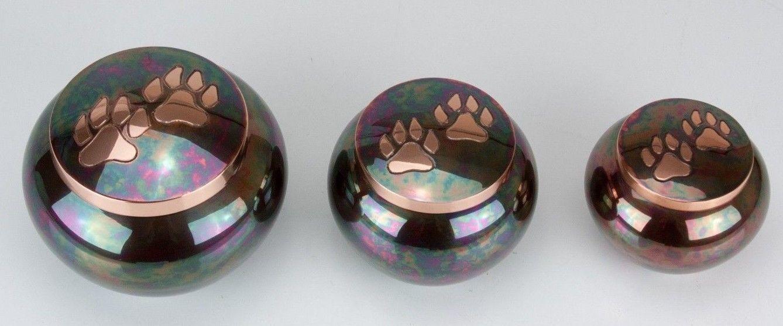 80 Cubic Inches Teal Raku Brass Pawprint Pet Jar Urn for Cremation Ashes