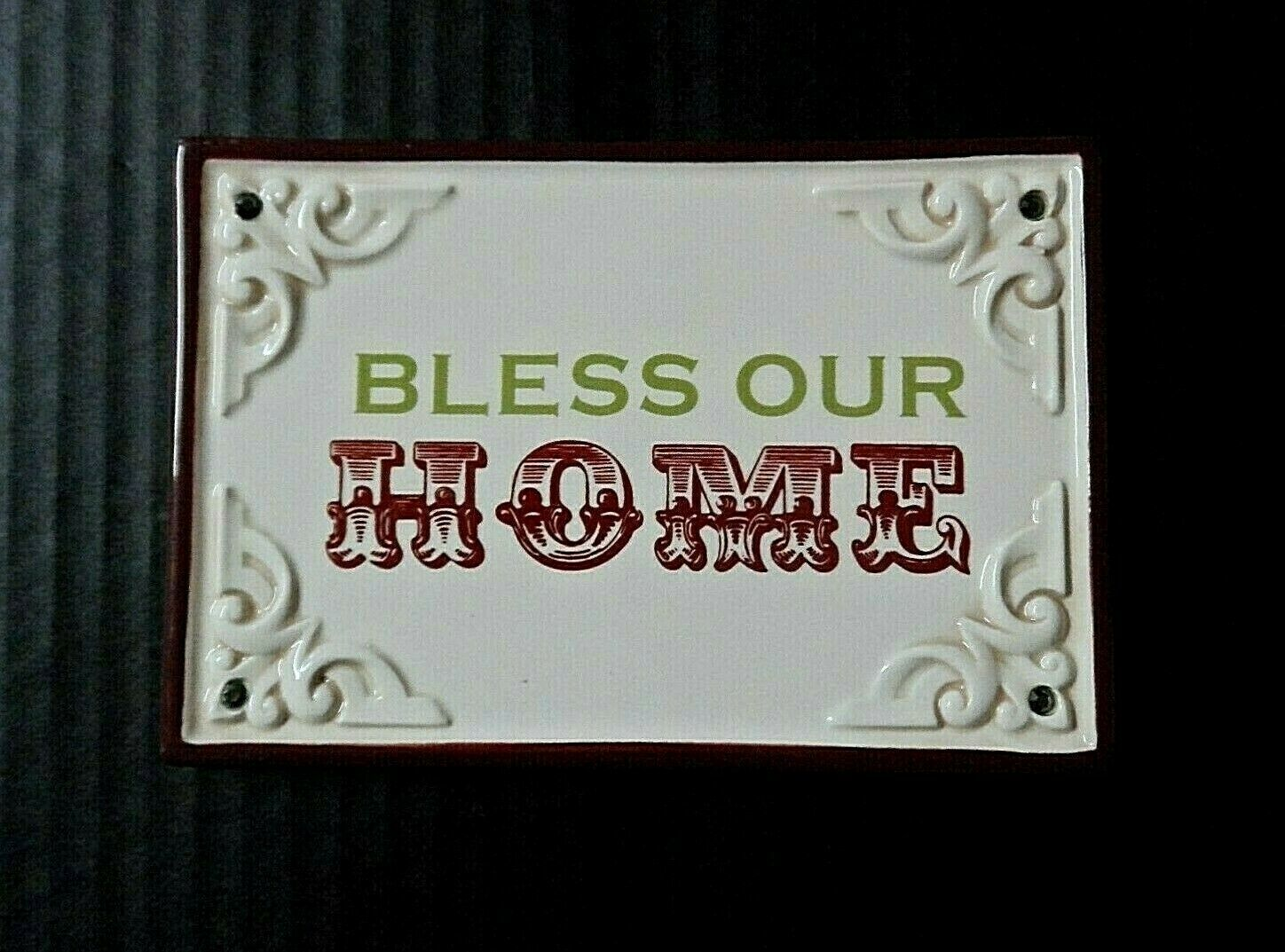 Primary image for Grasslands Road Wall Plaque Bless Our Home Ceramic Religious Christian Decor