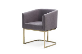 Modrest Yukon Modern White Fabric and Antique Brass Dining Chair - $260.00