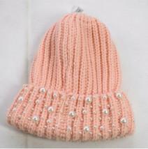 Tasha Womens Pink Knit Pearl Design Fold Up Casual Winter Cute Beanie On... - $19.80