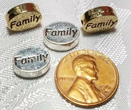 FAMILY WORD FINE PEWTER OVAL DISC BEAD - 11mm L x 9mm W x 3mm D image 2