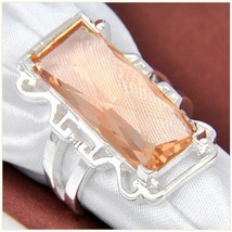 Pale Iced Fire Rectangle Morganite Baguette Filligree Silver Plated Ring