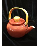 Vintage Mid Century Brown Enamel Teapot Tea Kettle Bamboo Handle - $25.00
