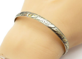 DANECRAFT 925 Silver - Vintage Antique Floral Leaf Bangle Bracelet - B6406 - $48.15