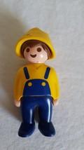"3""VINTAGE Playmobil Blue Yellow Farmer Figure, 1990, Hinged At Waist, Head Turns - $4.94"