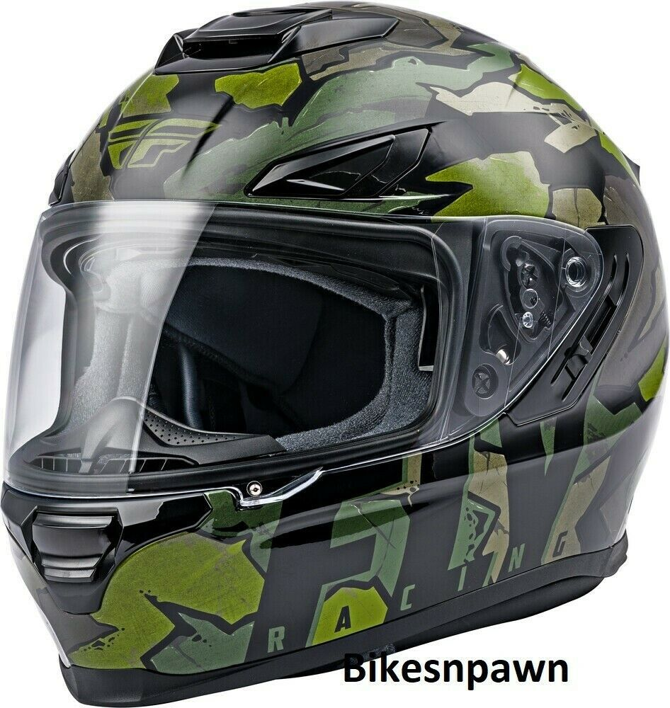 XS Fly Racing Sentinel Ambush Motorcycle Helmet Camo/Green/Grey DOT & ECE