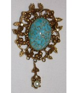 Goldette Vtg Costume Jewelry Pin Brooch Turquoise Rhinestone - $38.71
