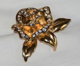 Golden Rose Flower Brooch set with Clear Rhinestones vintage AVON Pin - $6.01