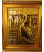 Pelican Water Pier Golden Mixed Media Original Painting Framed Signed - $49.45