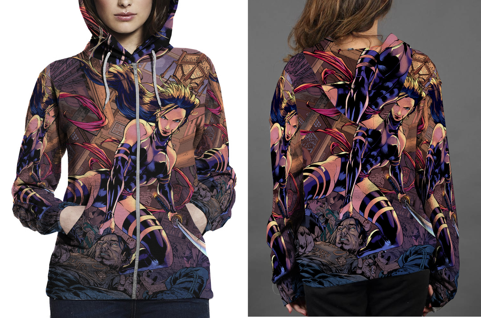 Psylocke zipper hoodie women s