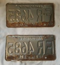 2 Vintage - 1974 Illinois License Plate Tag - Red White Set Pair image 3