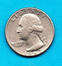 1967 Washington Quarter - Circulated - Very good or better - $1.25