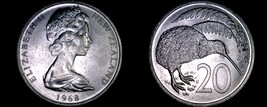 1968 New Zealand 20 Cents World Coin - Elizabeth II - $9.99