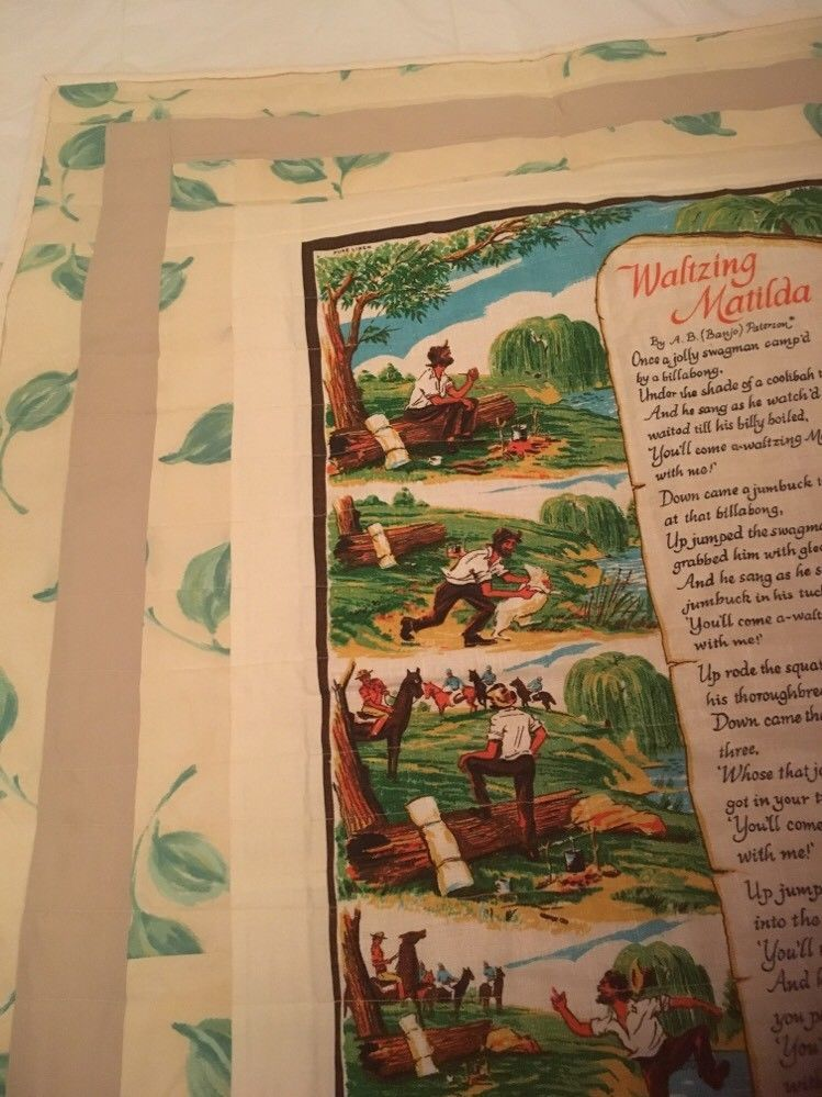 Handmade one of a kind lap quilt With Vintage Waltzing Matilda Tea Towel