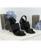 Balenciaga Black Lamb Leather Studded Ankle Strap Wedge Heels Size 37 7 NIB - $390.56