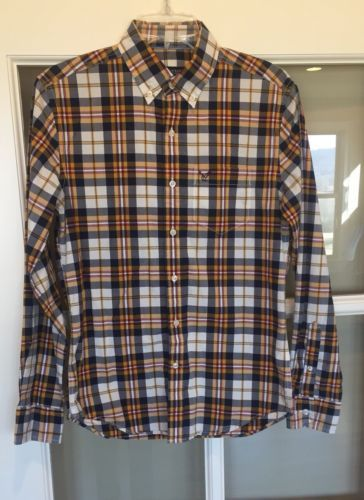 Men's Clothing Clothing, Shoes & Accessories American Eagle Outfitters Mens Medium Blue Plaid Buttonfront