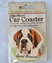 Saint Benard Absorbent Car Coaster Stoneware E&S Pets Dog Auto NEW - $10.88