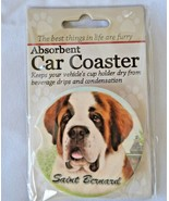 Saint Benard Absorbent Car Coaster Stoneware E&S Pets Dog Auto NEW - $10.88