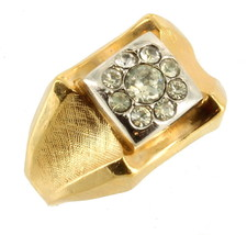 Vintage Mens Unisex Paste Rhinestone Signet Ring Brushed Gold Tone 18K H... - $67.49