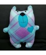"Teddy Bear Blue Purple Valentines Plaid Plush Stuffed Animal Heart 9"" Pu... - $16.82"