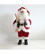 Skiing Santa Doll Xmas Ornament Red Velvet Suit Wooden Skis Standing Han... - $6.72