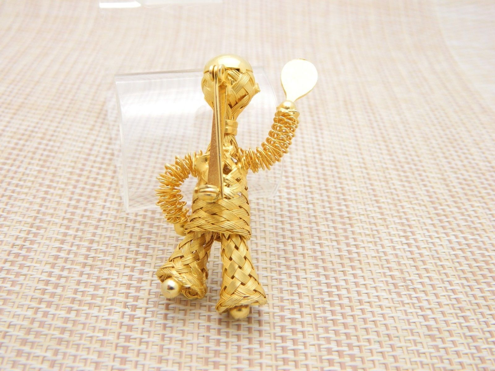 Gold Tone Wire Tennis Player Blue Rhinestone Unique Vintage Pin Brooch