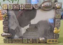 """6"""" x 4"""" FETCO Metal """"Baby Brings Joy"""" Picture Frame Nice Looks Unused - £10.93 GBP"""