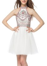 Womens 2018 Halter Embroidery Homecoming Dresses Open Back Short Prom Dr... - $118.99