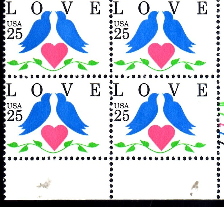 USPS Stamps - 25 cent Love, Doves Issue (Plate Block of 4)