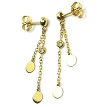 18K YELLOW GOLD PENDANT EARRINGS, DOUBLE WIRES WITH DISCS & ZIRCONIA 1.5 INCHES  image 3