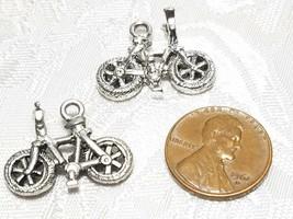 BIKE BICYCLE FINE PEWTER PENDANT CHARM - 23mm L x 17mm W x 9mm D image 2