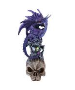"Pacific Giftware 10"" H Winged Purple Dragon on Skull Head Rhinestone Rock - $16.82"